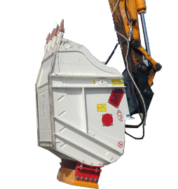 HYDRAULIC ROCK CRUSHER BUCKET ATTACHMENT