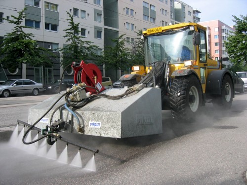 Dynaset Dust Suppression System cleaning a city street