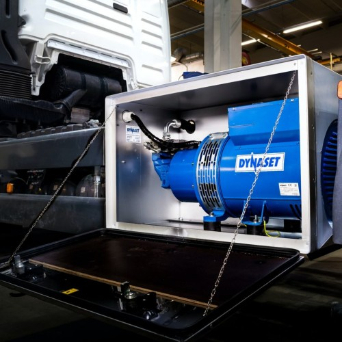 blue hydraulic generator installed in small cabin