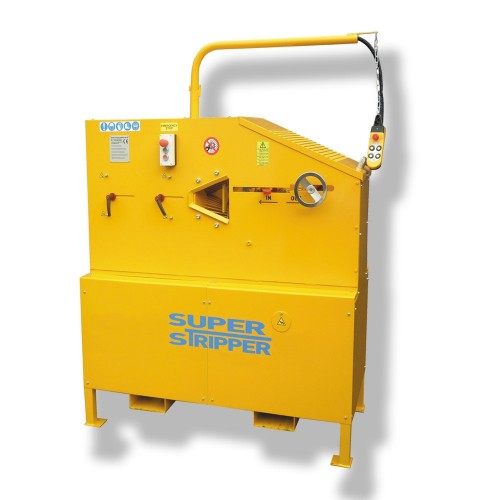 Large yellow industrial cable stripping machine