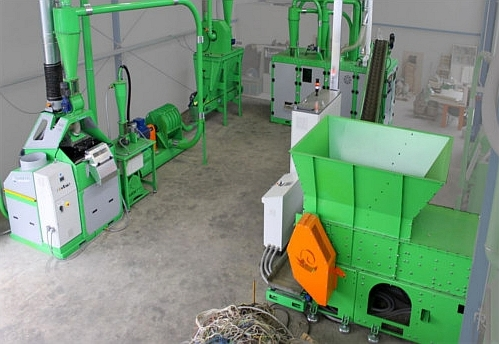 Green wire recycling system installed in recycling plant