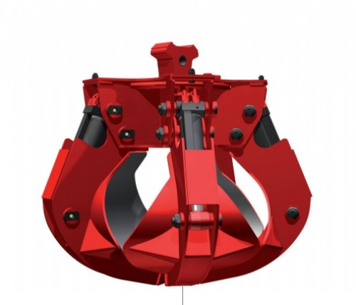 red hydraulic five tine scrap grapple