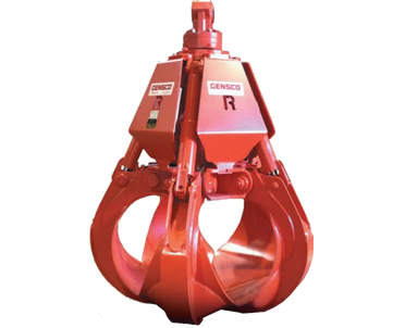 red hydraulic five tine grapple