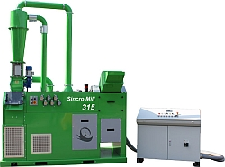 Green Copper Wire Recycling Machine Being Fed By Pre Shredding Machine with Control Station