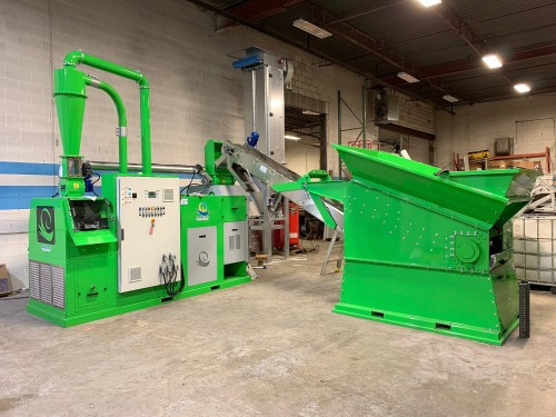 Green Copper Wire Recycling Machine Being Fed By Pre Shredding Machine