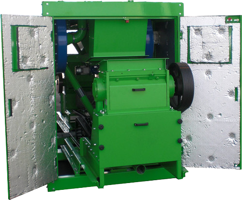 Image of Green Granulator Rolling out of soundproof wire recycling machine cabinet